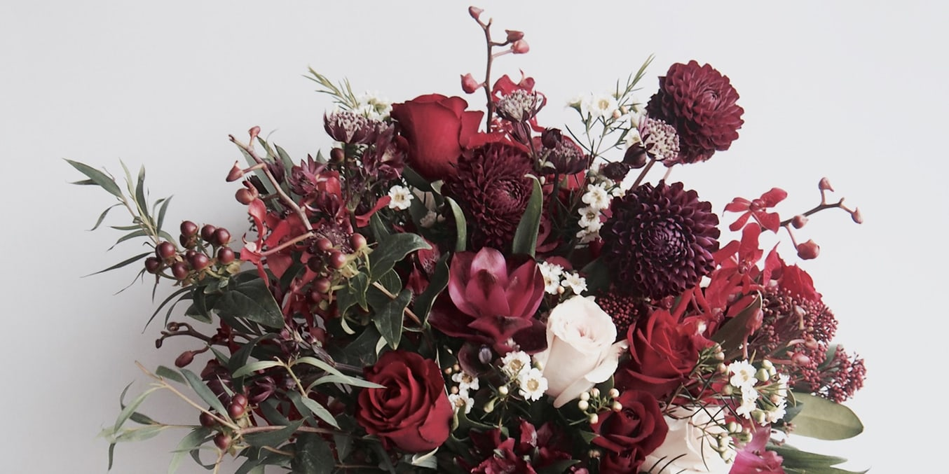 adelaide winter wedding bouquet with burgunday flowers